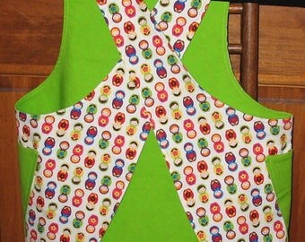 Child's Sm (4/5) Cross back apron/pinafore fully lined or reversible