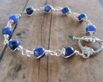 Sodalite Bracelet, Wire Wrapped Bracelet, Chakra Bracelet, Throat Chakra