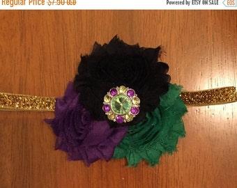 Mardi Gras purple, green, black, and gold shabby flower trio headband