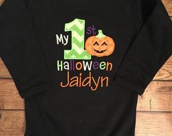 My 1st Halloween Pumpkin Baby Bodysuit or Shirt