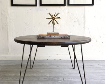 "36"" Round industrial chic, modern coffee table with handcrafted wood top and steel hairpin legs, industrial modern living room furniture"