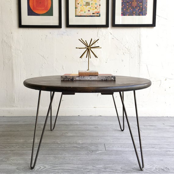 36 Round Industrial Chic Modern Coffee Table With