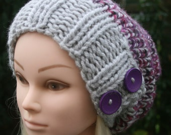 Hand Knit Hat Womens Hat Slouchy Beanie Hat-hat with two purple wooden buttons, Purple hat Grey hat Womens Accessories