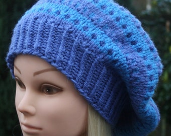 Knit Beret, Hand Knit Hat, Women's hat, Spring hat, Slouchy Beanie hat, Beanie, Blue hat, Purple hat, Women's accessories