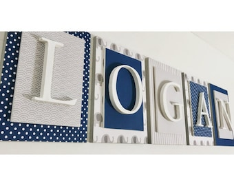 Nursery letters,Gray and Blue Nursery Letters, Boys Nursery Decor Ideas, Boys Nursery Letters, Wooden Wall Letters, Boys Baby Shower Gift