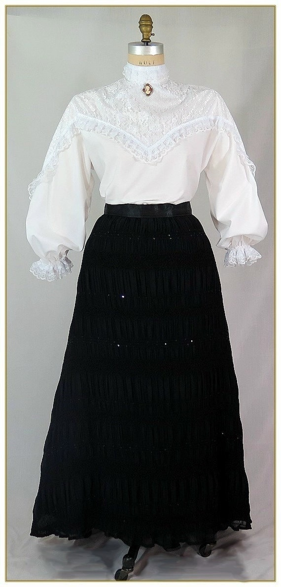 Steampunk Skirts | Bustle Skirts, Lace Skirts, Ruffle Skirts Chiffon Sequin Victorian SkirtChiffon Sequin Victorian Skirt $59.00 AT vintagedancer.com
