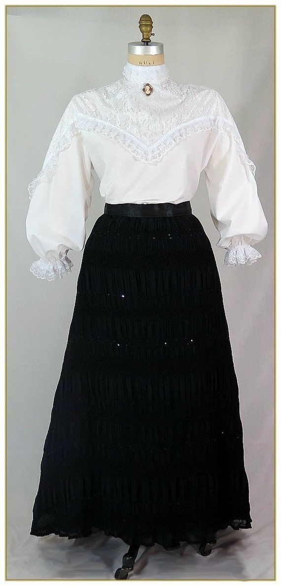Victorian Skirts | Bustle, Walking, Edwardian Skirts Chiffon Sequin Victorian SkirtChiffon Sequin Victorian Skirt $59.00 AT vintagedancer.com