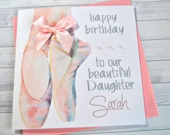 Personalised Customised Ballet Shoes Birthday Card Daughter Granddaughter Sister Niece Friend