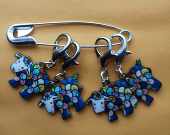 Stitch Markers for Crochet, Knitting Progress Stitch Markers, Set of 4 Colourful Enamel Sheep