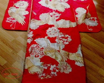 C 1960's fully embroidered sashiko hand Japanese wedding kimono.