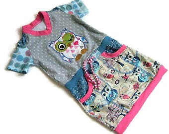 Summer dress, dress, girl, owls, unique size 110-116