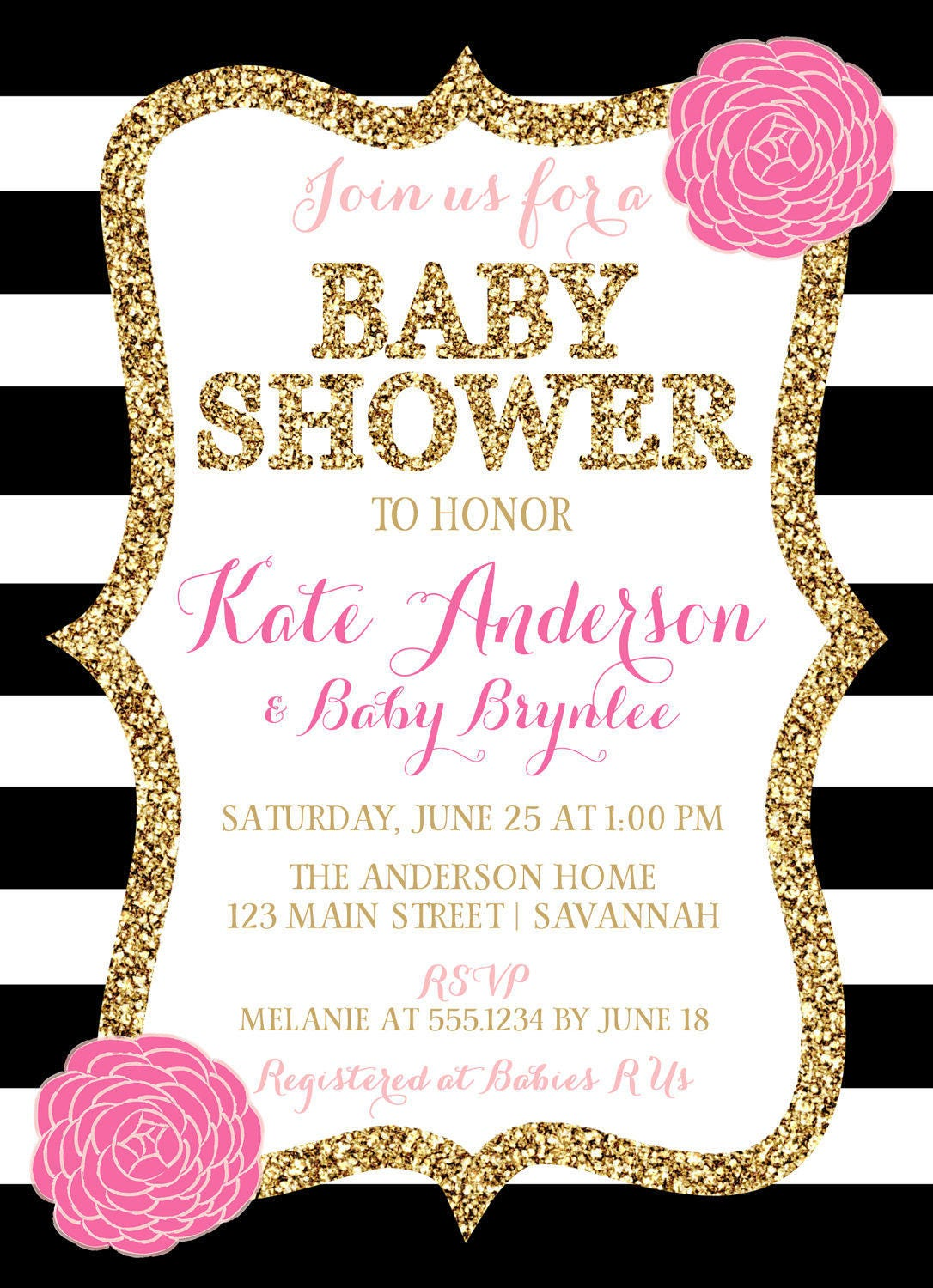 Pink Black And White Baby Shower Invitation, Pink And Black Baby ...