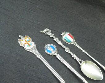Collection Vintage Sterling Silver Enamel Memorabilia Spoons