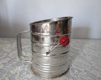 Vintage Bromwells 3 Cup Sifter with Wood Handle