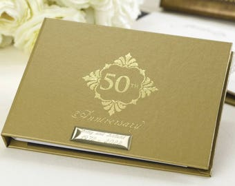 50th anniversary guest book gold