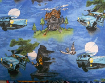 """2001 Harry Potter Fabric Out of Print RARE HTF First run Fabric Fat Quarter 18"""" x 22"""""""