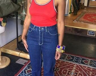 1970s 1980s High Waist Mom Straight Leg Designer Jeans