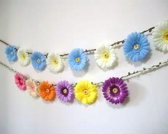 Blue Flower Garland Backdrop,Blue White Wedding Garland,White Flower Daisy Banner,Bunting,Bridal Baby Shower decor,Hanging Floral Garland