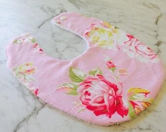 Baby bib - Pink Sunshine Roses Floral - 100% cotton