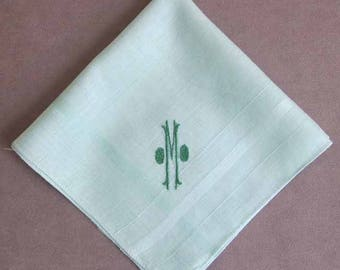 Initial M Letter Monogram Embroidered Green Cotton Handkerchief Green Thread Collectible Hanky 11 Inches Square Vintage 1960's