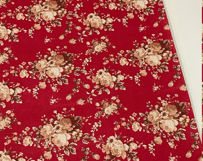 Floral Roses in Red and Brown Soft Leatherette Floral PU Leather A4 Sheet 210 x 297mm Floral Leather Bows Floral Leather Headbands
