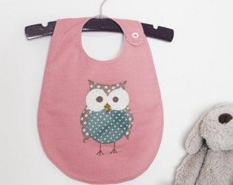 Pink Owl Handmade Baby Bib