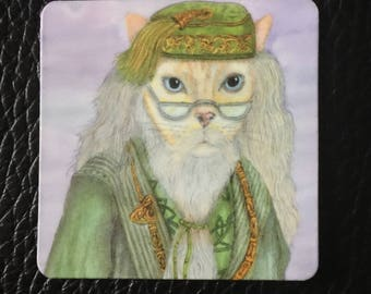 Professor Dumbledore from Harry Potter as a Cat, Fun Feline, Wizards, Magic,  Magnet, 2 inches x 2 inches, Perfect Small Gift