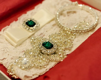 Wedding Garter Set Ivory, Wedding garter belt, wedding garter ivory, wedding garter set, stretch lace garter, crystal rhinestone garter set