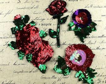 4pcs/set flower sequins patch vintage embroidered patch