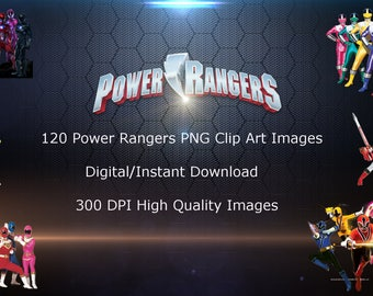 120 Power Rangers PNG Clip Art images, Instant Download, Scrapbook Party