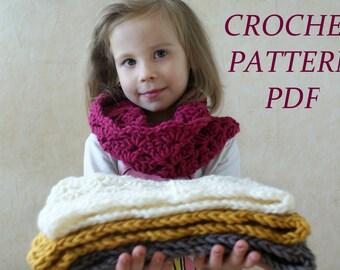 Crochet Pattern, Baby Scarf Pattern, Toddler Scarf Pattern, Girls scarf Pattern, Crochet Chunky Scarf pattern, Crochet Cowl Pattern