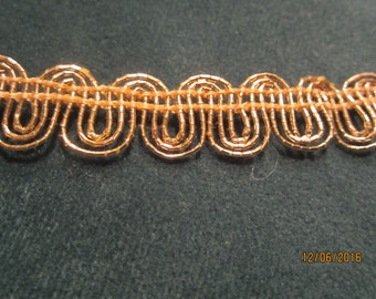 "Brilliant gold metallic braid trim, 1/2"" x 2 1/2 yards"