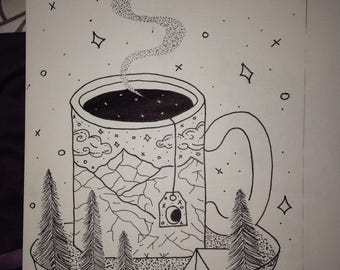 Hand Drawn Ink Drawing Coffee Tea Mug