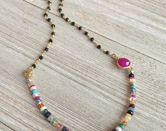 """Multi-gemstone beaded necklace~17""""~gold filled chain~ hot pink chalcedony connector~ethiopian opal beads~yellow saphhire beads~moonstone"""