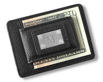 Studded Leather Money Clip and Card Holder - Personalized Money Clip - Black Leather Money Clip - Card Holder - Groomsmen Gift - GC1549