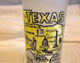 Vintage Texas Souvenir Glass