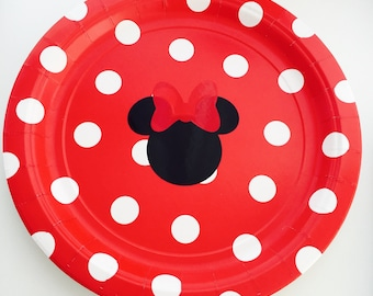 8 Red Minnie Mouse Polka Dot Party Plates, Minnie Mouse Birthday, Minnie Mouse Birthday Party Decor, Tableware, Polka Dot Party Decor