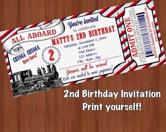 Chugga Chugga Two Two Birthday Invitation - Two - Second Birthday Train Invite - Train Birthday - Digital - 2nd Birthday Trains
