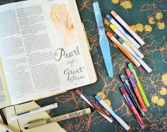 Bible Journaling Art - Watercolor Set - Bible Journaling - Crayon Style