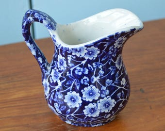 Blue Blue Calico Fine China Creamer, England, Collectible Dishware, Cooking Collectibles
