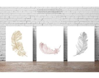 Three Feathers Painting, Abstract Minimalist Feather Art Print, set 3 Illustrations, Gold Golden Watercolor Picture, Blush Pink and Gray