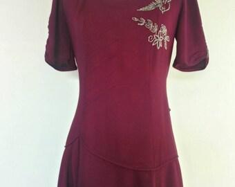 1940s Burgundy Dress Gown Beaded bird crepe 40s formal dress cut steel beading size M/L