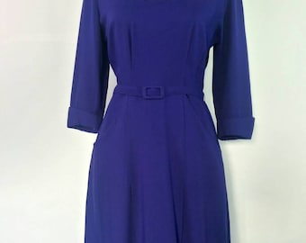 1940s Purple Dress German Office secretary Dress Size M