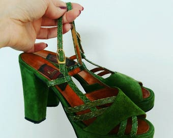 1940s green suede platform Sandals shoes rockabilly 40s size 6.5