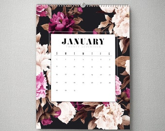 2017 Monthly Wall Calendar, 11x14, Wall Calendar, Watercolor Flower Gifts for Her  (cal0011)
