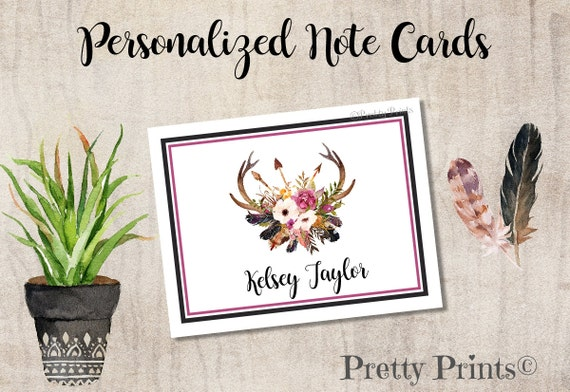 Boho Floral Note Cards - Personalized - Note Cards - Floral Note Cards, Wedding, Notecards, Custom Note Cards, Thank You Notes - Antlers