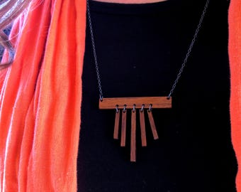 Wood Necklace, Minimalist Necklace, Fringe Necklace, Statement Necklace, Modern Necklace, Walnut Wood necklace