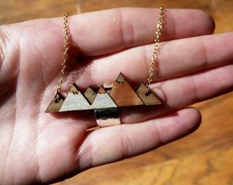 Wood Mountain Necklace, Minimalist Necklace, Statement Necklace, Modern Necklace, Walnut Wood necklace