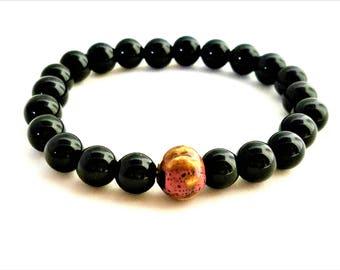 Men's Black Glass & Porcelain Bracelet