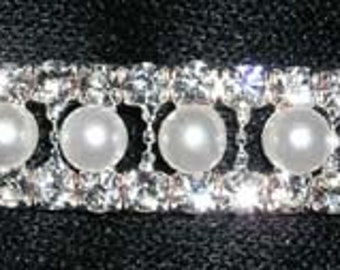 Style # 14473 - Pearl and Rhinestone Stretch Bracelet - Crystal Silver